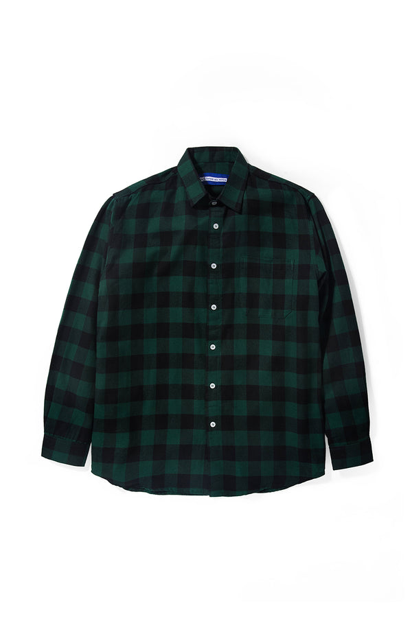 Merci Flannel Green Black Plaid Long Sleeve Shirt