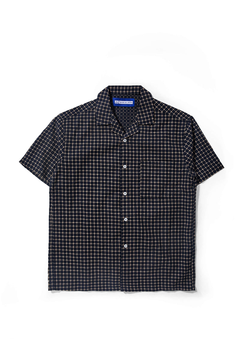 Merci Flannel Sand Box Navy Bowling Shirt