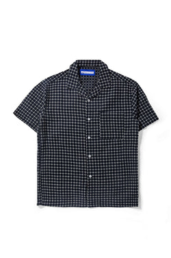 Merci Flannel White Box Navy Bowling Shirt - Tenue de Attire