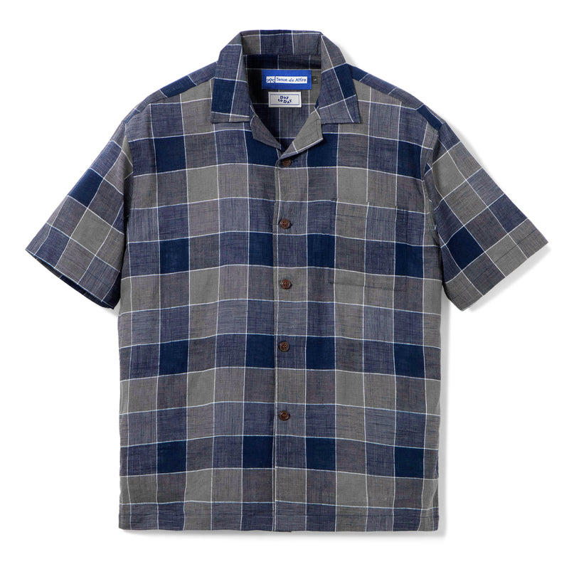 Gaudi Madras Short Sleeve Blue Square Shirt