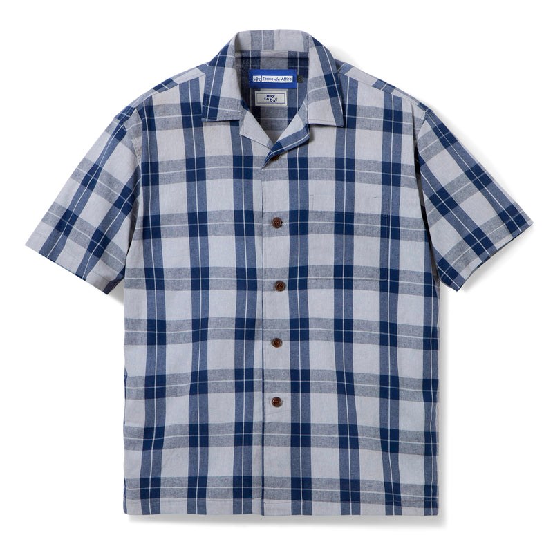 Gaudi Madras Short Sleeve Grey Navy Shirt