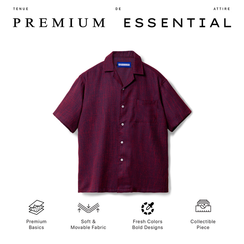 Lyon Linen Burgundy Shirt Short Sleeve