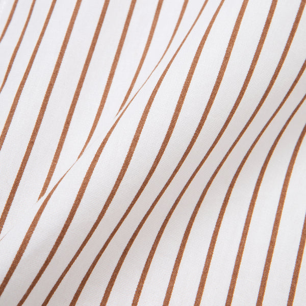 Bofill Stripes Long Sleeve White Brown Shirt