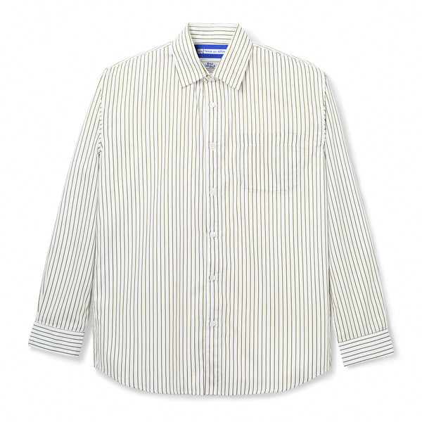 Bofill Stripes Long Sleeve White Olive Shirt