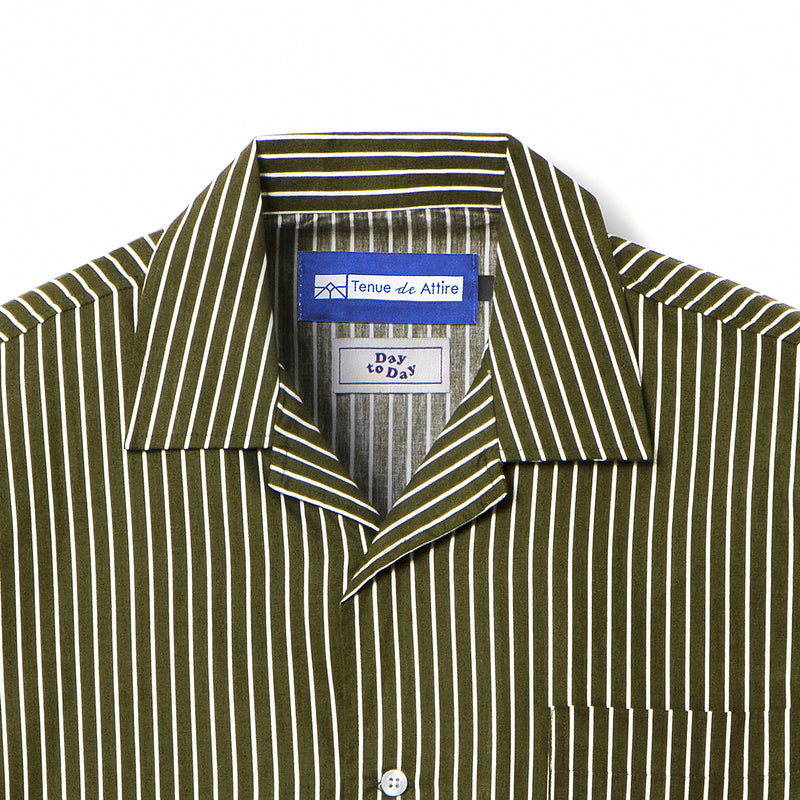 Bofill Stripes Short Sleeve Olive White Shirt