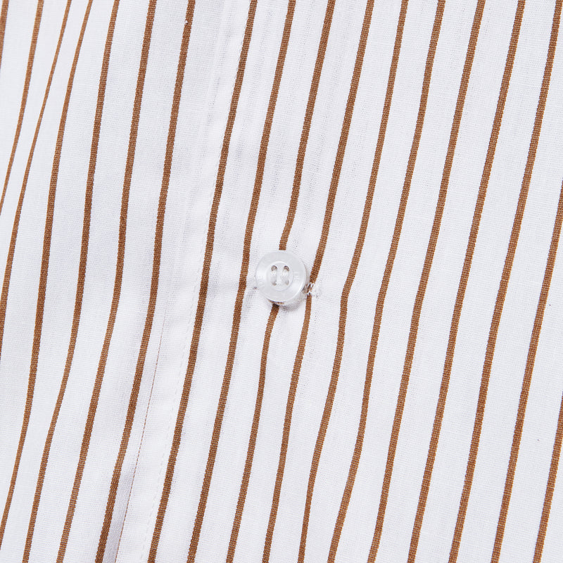 Bofill Stripes Short Sleeve White Brown Shirt
