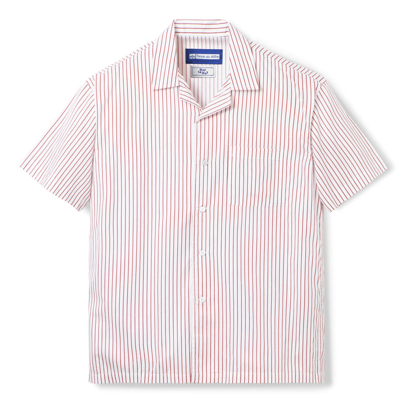 Bofill Stripes Short Sleeve White Maroon Shirt