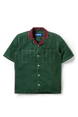 Two Tone Camp Collar Travail Bowling Shirt in Olive - Tenue de Attire