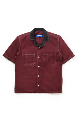 Two Tone Camp Collar Travail Bowling Shirt in Maroon