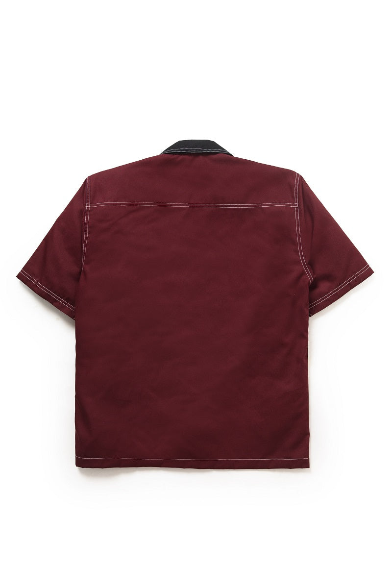 Two Tone Camp Collar Travail Bowling Shirt in Maroon - Tenue de Attire
