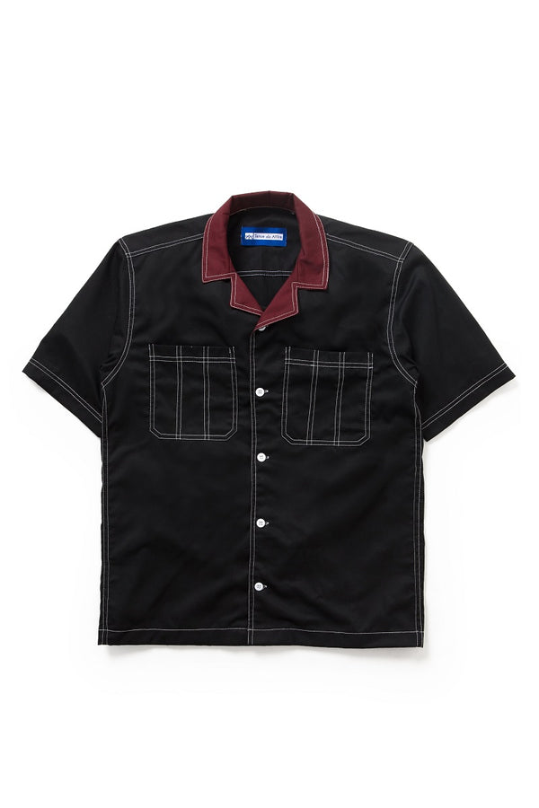 Two Tone Camp Collar Travail Bowling Shirt in Black
