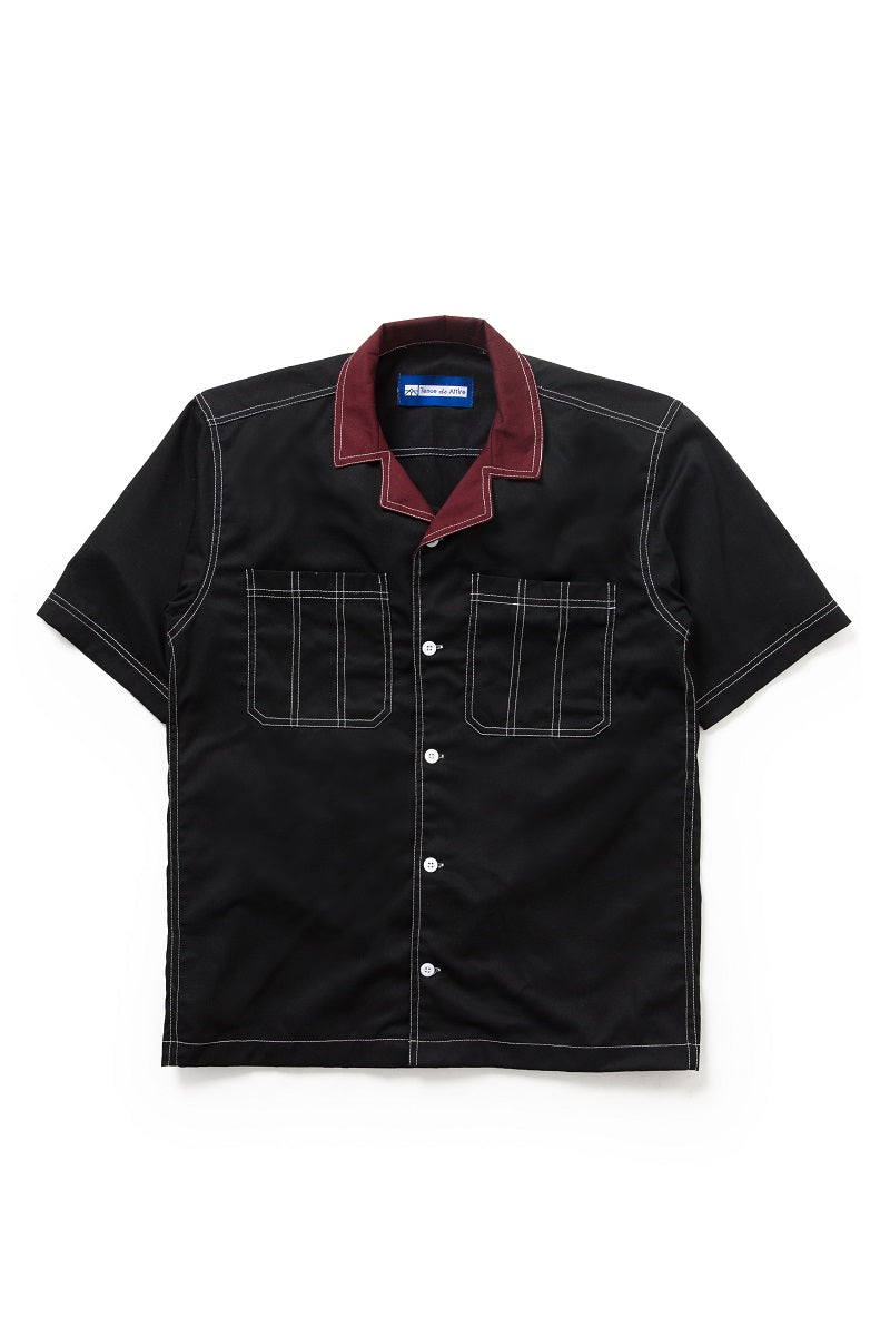 Two Tone Camp Collar Travail Bowling Shirt in Black - Tenue de Attire