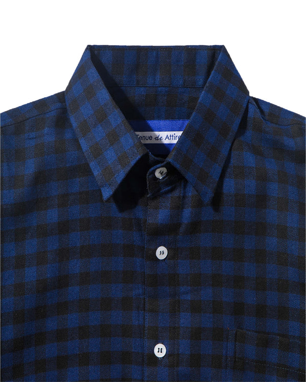 Merci Flannel Blue Black Plaid Long Sleeve Shirt