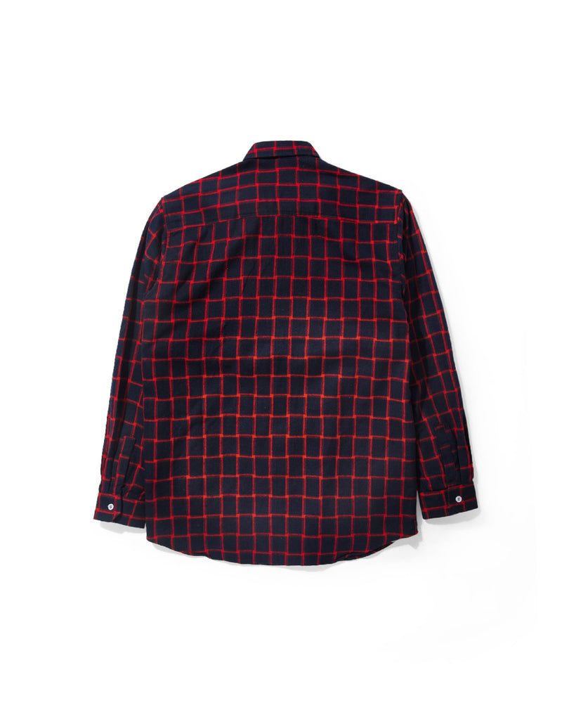 Merci Flannel Red Plaid Navy Long Sleeve Shirt