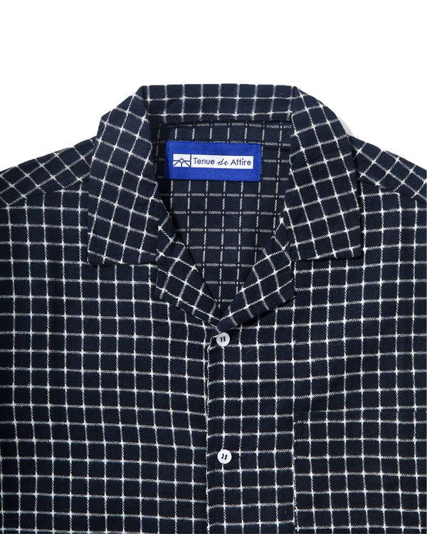 Merci Flannel White Box Navy Bowling Shirt