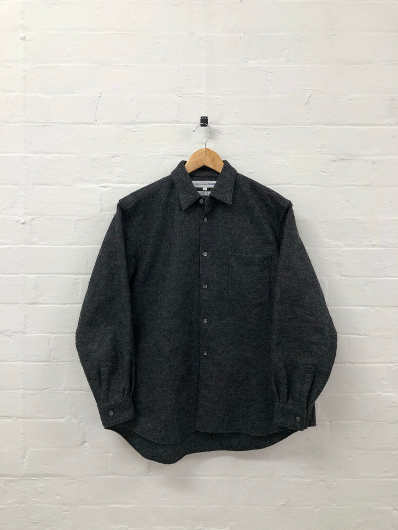 comme des garcons shirt grey wool shirt <Br> size small