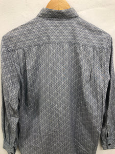 comme des garcon shirt grey patterned button up <br> size medium