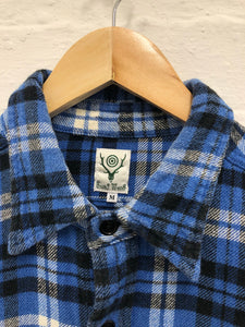 South2west8 blue plaid flannel <br> size medium