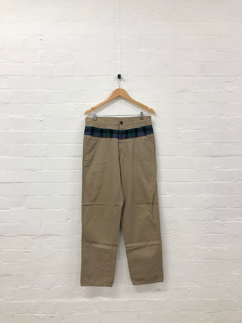 comme des garcons evergreen beige plaid pants <Br> size medium