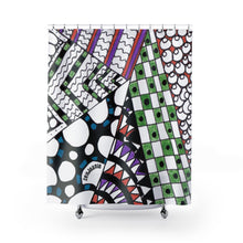 "Zentangle Shower Curtains - ""Angles"" Tangle Art hand drawn by ZenJoanie - Quality Shower Curtains for Home Decor - ZenJoanie Shower Curtains"