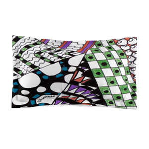 "Zentangle Pillow Sham - ""Angles"" Tangle Art hand drawn by ZenJoanie - Microfiber Pillow Sham for Home Decor - ZenJoanie Pillow Sham"