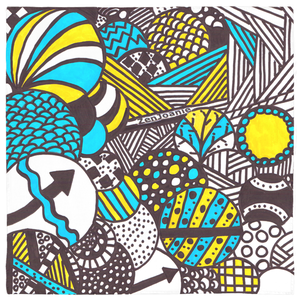 "Zentangle Bandanas - ""Illumination"" hand drawn by ZenJoanie - ZenJoanie Bandanas"