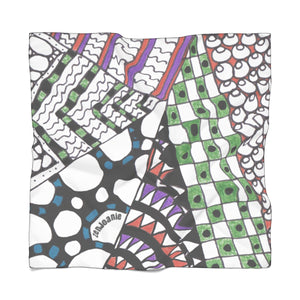 "Zentangle Scarf - ""Angles"" hand drawen and colored by ZenJoanie - Poly Scarf - ZenJoanie Scarf"