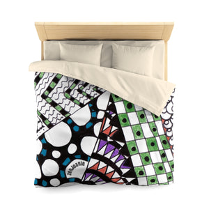 "Zentangle Duvet Cover - ""Angles"" Tangle Art hand drawn by ZenJoanie - Microfiber Duvet Cover for Home Decor"