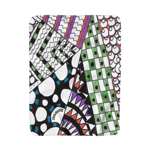 "Zentangle Blanket - ""Angles"" Tangle Art hand drawn by ZenJoanie - Sherpa Fleece Blanket for Home Decor - ZenJoanie Blanket"