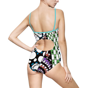 "Zentangle Bathing Suit - ""Angles"" hand drawn by ZenJoanie - Trendy Women's One-piece Swimsuit"