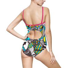 "Zentangle Bathing Suit - ""Illumination"" hand drawn by ZenJoanie - Trendy Women's One-piece Swimsuit"
