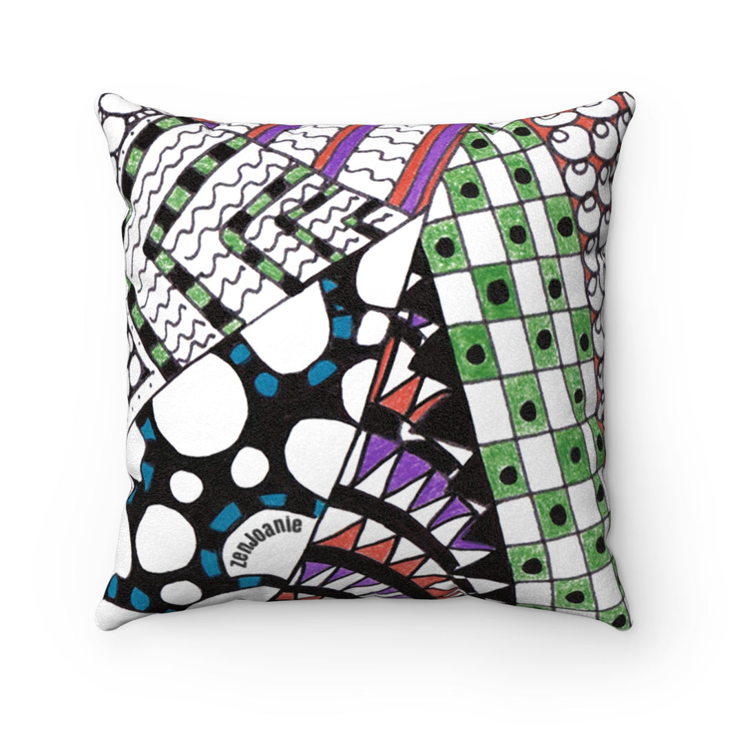 Suede Zentangle Throw Pillow -