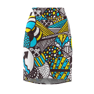 "Zentangle Art Skirt - ""Illumination"" hand drawn and colored by ZenJoanie - Women's Pencil Skirt - ZenJoanie Skirt"