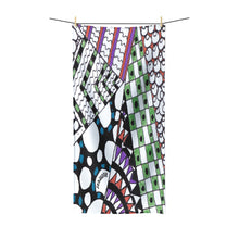 "Polycotton Zentangle Towel - ""Angles"" Tangle Art hand drawn by ZenJoanie - Polycotton Towel for Home Decor - ZenJoanie Towel"