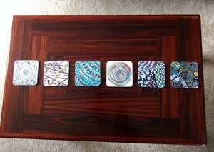 "Zentangle Coasters - Fun Drinking Coasters - Set of Artistic Coasters hand drawn by ZenJoanie - ""Pillow Talk"" for Home Decor"