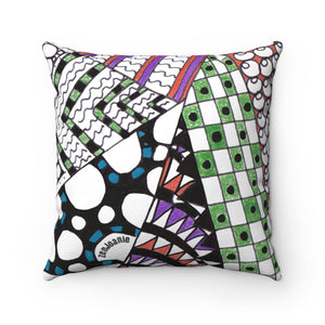 "Zentangle Throw Pillow - ""Angles"" Tangle Art hand drawn by ZenJoanie - Spun Polyester Square Pillow for Home Decor - ZenJoanie Throw Pillow"