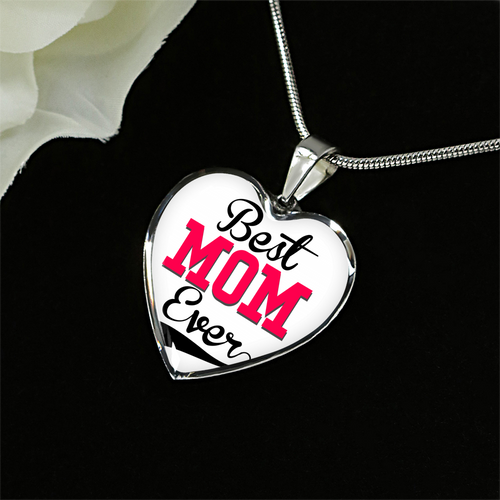 Best MOM Ever Heart Necklace - Silver or Gold Pendant Bracelet for Mom - Great Mothers Day Gift - made by Paul
