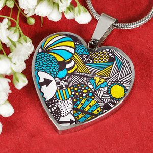 """Illumination"" Hand Drawn by ZenJoanie - Zentangle Heart Necklace"