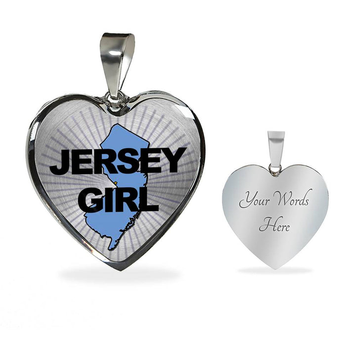 Jersey Girl Bangle Bracelet - Jersey Girl Necklace - Jersey Girl Heart Charm in Silver or Gold