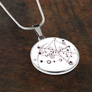 """String Theory"" hand drawn by ZenJoanie - Black and White Zentangle Necklace"
