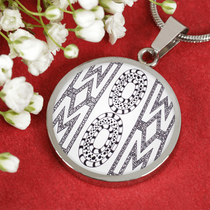 Wow Mom - Mothers Day Gift - Black and White Zentangle Necklace