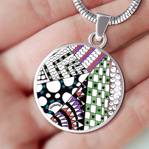 """Angles"" hand drawn by ZenJoanie -  Zentangle Necklace - Zentangle Charm Bracelet"