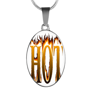 Hot Oval Pendant Necklace for Men or Women - Digital Art by Paul