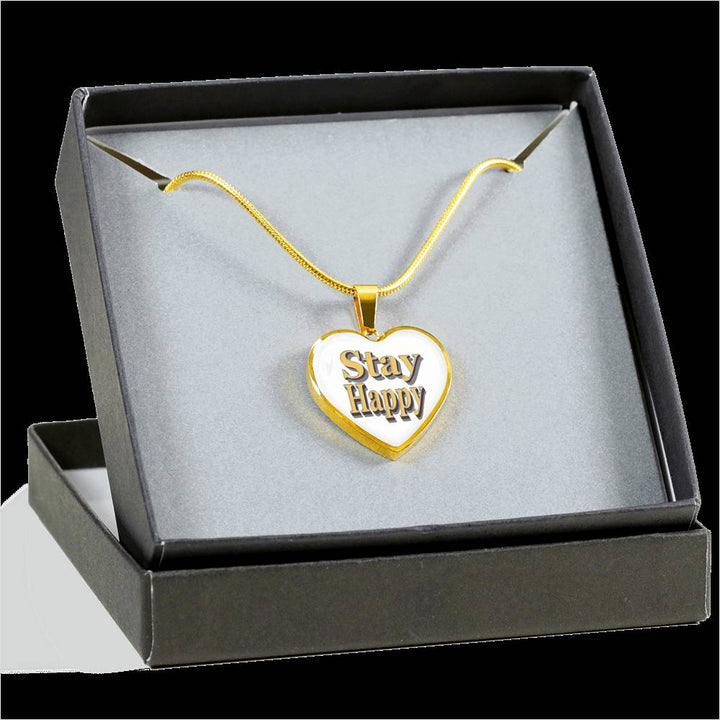 Stay Happy Necklace - Stay Happy Heart Charm Necklace - Stay Happy Gold Necklace - Digital art by Paul