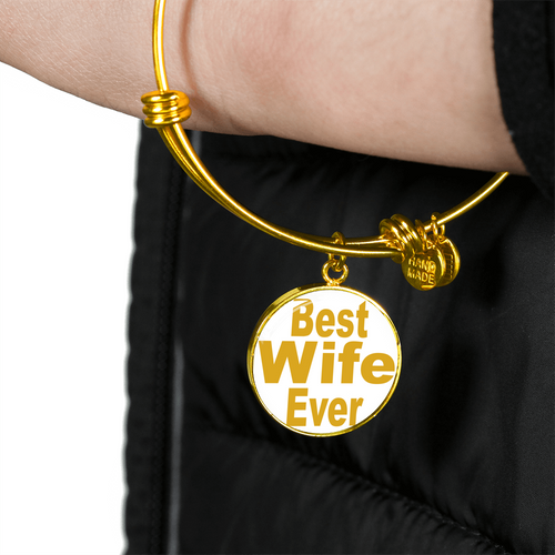 Best Wife Ever Gold Necklace - Gold Charm Bracelet for Wife - Great Gift for Wife - digitaL art by Paul