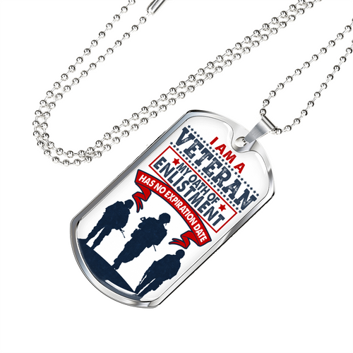 I Am a Veteran Dog Tag Necklace - Luxury Dog Tag Necklace for Men or Women - made by Paul