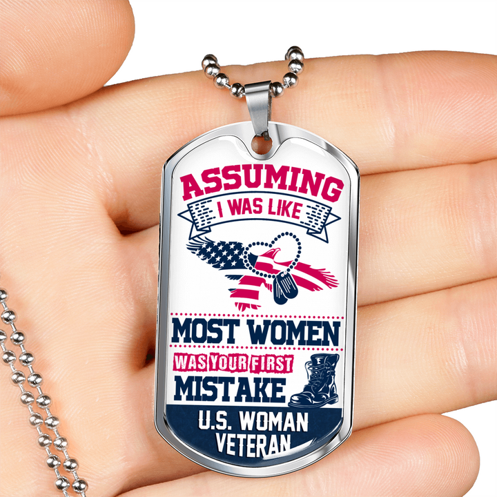 Woman Veteran Dog Tag Necklace - Luxury Dog Tag Necklace for Women - made by Paul