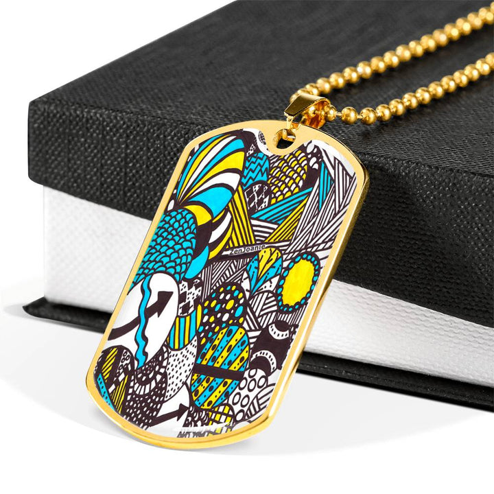 """Illumination"" hand drawn by ZenJoanie - Colored Zentangle Necklace - Dog Tag Charm"