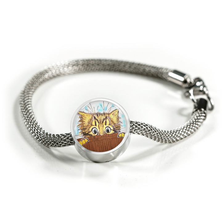 Cute Cat Charm Bracelet - Cat is Peaking at You - made by Paul