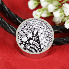 """Angles"" hand drawn by ZenJoanie - Black and White Zentangle Bracelet"